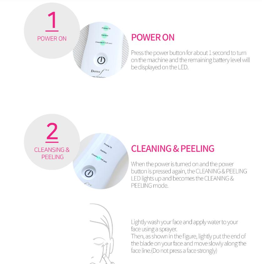Derma F plus, 3 modes ultrasonic face scrubber 3