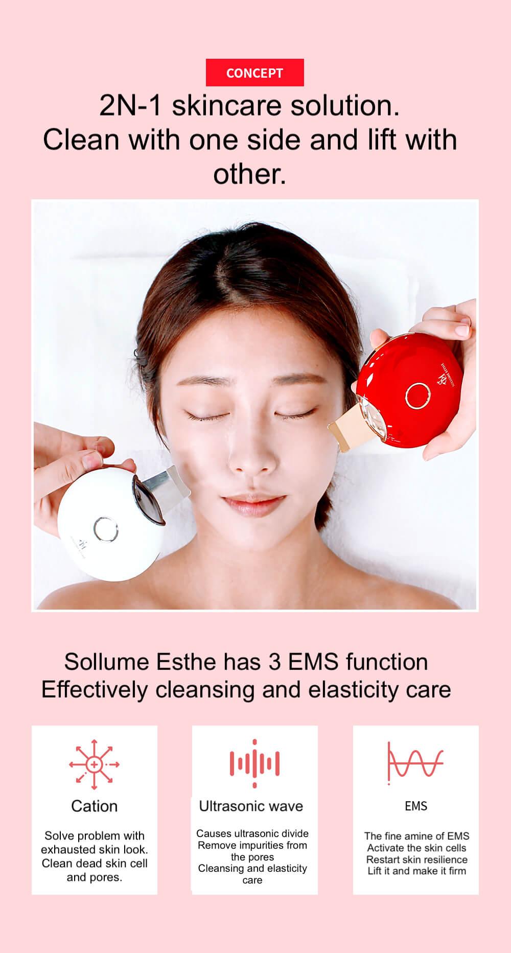 Sollume Esthe Ultrasonic Face Spatula 24K golden blade 3